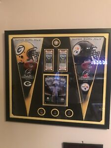 2011 Packers vs Steelers Framed Canvas Super Bowl XLV Program Tickets Pennants