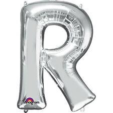 """Lettera R Argento Foil Balloon 16"""" 40cm Aria Riempire Nome Età Compleanno Anniversario"""