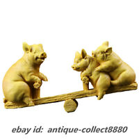 "7.1"" Chinese Box-wood Hand Carved 12 Zodiac Animal Three Pig Originality Statue"