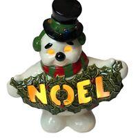 Vintage Light Up Ceramic Snowman Noel Rare MCM Christmas Decoration Cute Retro
