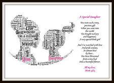 Hija navidad cumpleaños regalo de arte día palabra Personalizado Recuerdo poema único