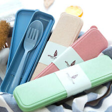 Portable Reusable Spoon Fork Box Travel Wheat Straw Tableware Cutlery Case