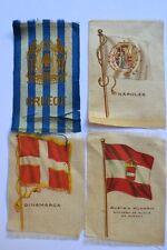 ANTIQUE LOT 7 TOBACCO SILK FLAGS RUSSIA SWITZ JAPAN GREECE NAPOLES DENMARK