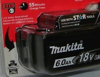 Makita BL1860B Lithium-Ion Battery, 6.0 Ah, 18 Volt, New Retail Packaged Genuine