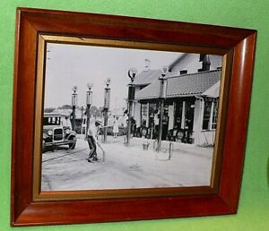 Antique original framed photo of CAMERON'S GASOLINE STATION with VISIBLE PUMPS.