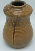 "Kenzan Japanese Ikebana Art Pottery Vase Brown Drip Glaze SIGNED Ex Cond 6 1/4""T"