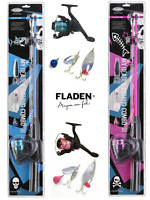 FLADEN PINK OR BLUE FISHING ROD AND REEL COMBO BOYS GIRLS STARTER SPINNING SET