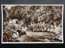 Perthshire SALMON LEAP ON THE RIVER GARRY c1929 RP Postcard by Valentine's