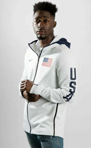 Nike Dri Mens White Team USA Full Zip Therma Flex Hoodie Jacket Large AT4879-100