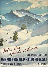 Vintage Ski Posters WENGERNALP-JUNGFRAU, Swiss, 1930, Art Deco Travel Print