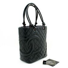 t46 CHANEL Authentic Cambon Tote Small Shoulder Bag Black Quilted Calfskin