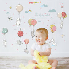 cute cartoon rabbit balloon kids wall sticker decal baby room decor mural newUO