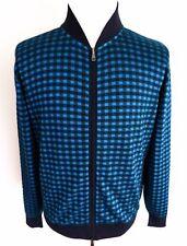 $1575 BRIONI Blue Cotton Silk Blend Cardigan Sweater Jacket Size 54 Euro XL
