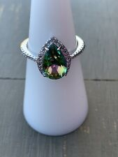 Ring Bomb Party Size 6 Green Rainbow Topaz Ring