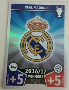 Match Attax 2017 2018 Champions League Football Cards Real Madrid Badge #1 Topps