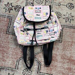 LeSport Sac Backpack Tote Bag Nylon Lightweight Zip Drawstring Sweet Candy Fun