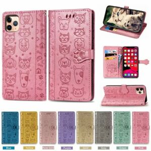 For iPhone 12 11 Pro Max XS SE2 8 Plus Cute Cat Dog Magnetic Leather Wallet Case