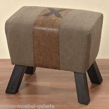 Hocker Sitzhocker Gym Rustic Bock massiv Holz Stoff Leinen Lederlook 52 cm NEU