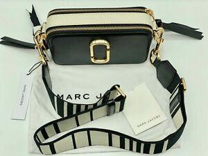 Genuine MARC JACOBS Snapshot Small Camera Bag  BLACK white  hot sales.