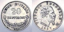 20 CENTESIMI 1863 VITTORIO EMANUELE II REGNO D'ITALIA ITALY ARGENTO SILVER#6121A