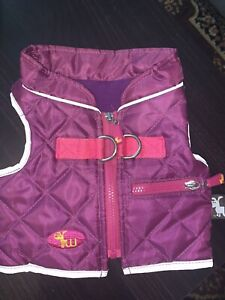 Dog Jacket Purple Quilted with Pink / Grey Trim Size Small  Make is Waghearted