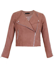 Women Suede LOOK Size Zip Classic Ladies Biker Jacket Coat 6-14 UK Tan 6
