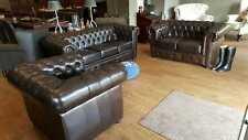 Chesterfield Sofagarnitur Ledersofa Sofa Couch Polster 100 echtes Leder 3 2 1