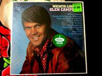 GLEN CAMPBELL WICHITA LINEMAN VINYL LP RARE GREEN LABEL IN SHRINK VG+ REISSUE