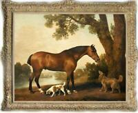 Hand painted Old Master-art Antique Oil painting Animal Portrait dog horse