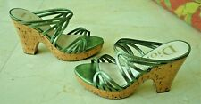 Christian Dior Women's Green Strappy Leather Wedge Sandals EU 37 American 7M