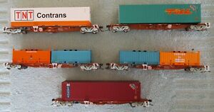 5 x PRRY FCL Container Wagons - BHP, PN, Toll, TNT Containers - Auscision, HO