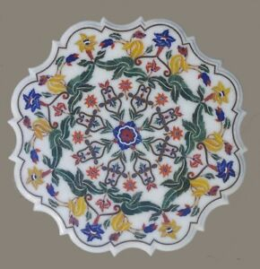 "24"" Marble Table Top semi precious stones Inlay art Home decor furniture"