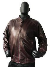 Jakewood Men's Burgundy Genuine Lambskin Leather Baseball Jacket, Size M