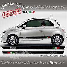 2 FASCE ADESIVE FIAT 500 ITALIA + 2 OMAGGI BANDIERINE ITALY AUTO FIAT TUNING