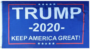 Trump -2020- Keep America Great! Blue 68D Woven Poly Nylon 6'x10' Flag Banner
