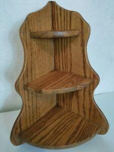 "Vintage Oak Wood 3 Tier Wall Hanging Free Standing Corner Shelf Display 18"" Tall"