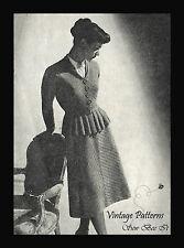 1940's Knitting Pattern Elegant Smart Chevron Peplum Jacket  Skirt Suit WWII PDF