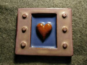 Eartha Handmade Pottery Art Tile by Parran Collery Red Heart 3.5 x 4 inches