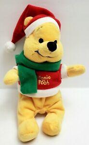 Disney Winnie the Pooh Plush with Santa Hat Scarf Green Scarf 9 in.