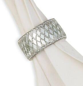 Leila's Linens Silver Bling Napkin Rings 6 Piece Set