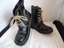 BROWN UNISEX LEATHER LOW HEEL ZIP CHUNKY STYLE BOOTS SIZE 9