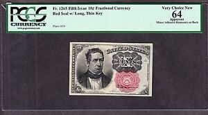 US 10c Fractional Currency 5th Issue Position A-30 FR 1265 PCGS 64 appr V Ch CU