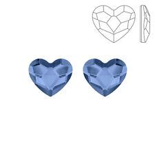 Swarovski Crystal Hotfix 2808 Heart Flat Backs 10mm Denim Blue Pack of 2 (K73/3)
