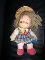 """VTG Shin Ice Cream Doll Straw Hat Girl Dress Yarn Hair 1980 Hong Kong 14"""""""