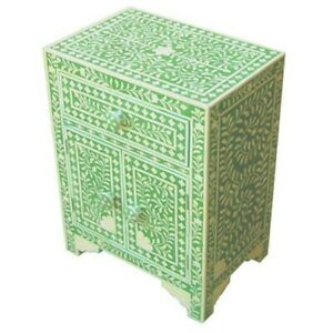 Bone Inlay Bedside cabinet Lamp table Green Floral (MADE TO ORDER)