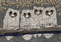 "AREA RUGS - ""NIGHT OWLS""  INDOOR OUTDOOR RUG - 24"" x 36"""