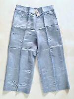 NWT Loft Women's Linen Blend Chambray Blue Wide Leg Crop Pants Size 2 6 8 10 12