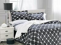 3-PC Bloomingdale Faux-Fur Sherpa Reversible Down Alternative Comforter Gray