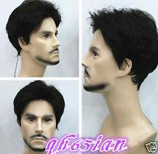 FASHION MAN UOMO RAGAZZO CORTO NERO naturale dei capelli Parrucche + Parrucca Cap