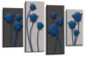 Le Reve Abstract Floral Love Art Blue Grey Black Wall Canvas Split 4 Panels